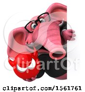 3d Pink Business Elephant Holding A Devil On A White Background