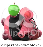 3d Pink Business Elephant Holding An Apple On A White Background