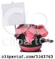 3d Pink Business Elephant Holding A Wrench On A White Background
