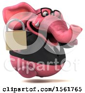 3d Pink Business Elephant Holding A Padlock On A White Background