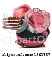 3d Pink Business Elephant Holding A Birthday Cake On A White Background