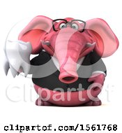 3d Pink Business Elephant Holding A Tooth On A White Background