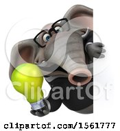 3d Business Elephant Holding A Light Bulb On A White Background