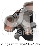 3d Business Elephant Holding A Thumb Down On A White Background