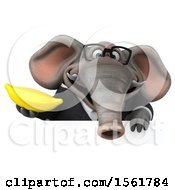 3d Business Elephant Holding A Banana On A White Background