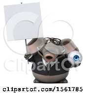 3d Business Elephant Holding An Eye On A White Background