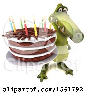 3d Green Dinosaur Holding A Birthday Cake On A White Background