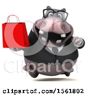 Clipart Of A 3d Business Hippo Holding A Shopping Bag On A White Background Royalty Free Illustration