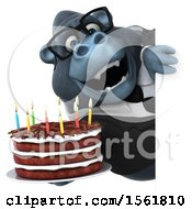 Clipart Of A 3d Business Gorilla Mascot Holding A Birthday Cake On A White Background Royalty Free Illustration by Julos