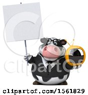 Clipart Of A 3d Business Holstein Cow Holding A Tv On A White Background Royalty Free Illustration by Julos