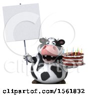 Clipart Of A 3d Holstein Cow Holding A Birthday Cake On A White Background Royalty Free Vector Illustration by Julos