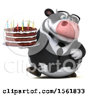 Clipart Of A 3d Business Holstein Cow Holding A Birthday Cake On A White Background Royalty Free Vector Illustration by Julos