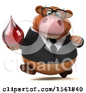 Clipart Of A 3d Brown Business Cow Holding A Blood Drop On A White Background Royalty Free Illustration