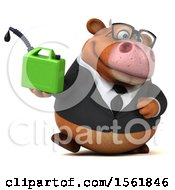 Clipart Of A 3d Brown Business Cow Holding A Gas Can On A White Background Royalty Free Illustration by Julos