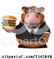 Clipart Of A 3d Brown Business Cow Holding A Burger On A White Background Royalty Free Illustration by Julos