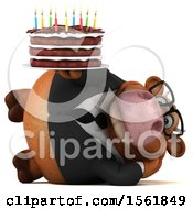 Clipart Of A 3d Brown Business Cow Holding A Birthday Cake On A White Background Royalty Free Illustration by Julos