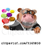 Clipart Of A 3d Brown Business Cow Holding Messages On A White Background Royalty Free Illustration by Julos