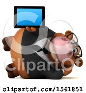 Clipart Of A 3d Brown Business Cow Holding A Tablet On A White Background Royalty Free Illustration by Julos