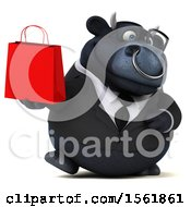 3d Black Business Bull Holding A Shopping Bag On A White Background