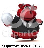 3d Red Business Bull Holding A Golf Ball On A White Background