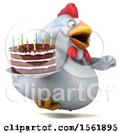 Clipart Of A 3d Chubby White Chicken Holding A Birthday Cake On A White Background Royalty Free Illustration