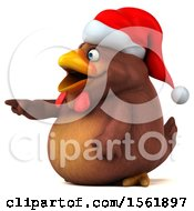 Clipart Of A 3d Chubby Brown Christmas Chicken Pointing On A White Background Royalty Free Illustration
