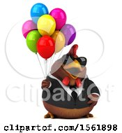 Clipart Of A 3d Chubby Brown Business Chicken Holding Balloons On A White Background Royalty Free Illustration