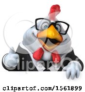 Clipart Of A 3d Chubby White Business Chicken Holding A Thumb Up On A White Background Royalty Free Illustration
