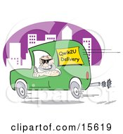 Man Speeding Down The Road In A City In A Green Van While Hurried To Make A Delivery Clipart Illustration