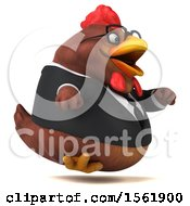 Clipart Of A 3d Chubby Brown Business Chicken Running On A White Background Royalty Free Illustration