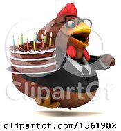 Clipart Of A 3d Brown Business Chicken Holding A Birthday Cake On A White Background Royalty Free Vector Illustration