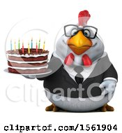 3d White Business Chicken Holding A Birthday Cake On A White Background