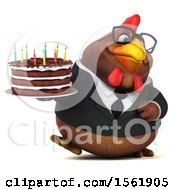 3d Chubby Brown Business Chicken Holding A Birthday Cake On A White Background