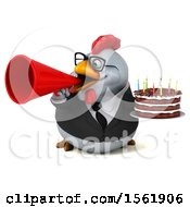 3d Chubby White Business Chicken Holding A Birthday Cake On A White Background