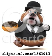 Clipart Of A 3d Gentleman Or Business Bulldog Holding A Donut On A White Background Royalty Free Illustration by Julos