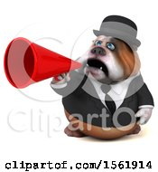 3d Gentleman Or Business Bulldog Holding A Megaphone On A White Background