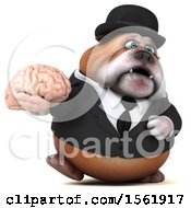 3d Gentleman Or Business Bulldog Holding A Brain On A White Background