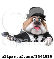 3d Gentleman Or Business Bulldog Holding A Wrench On A White Background
