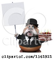 3d Gentleman Or Business Bulldog Holding A Birthday Cake On A White Background