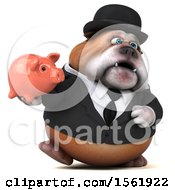 3d Gentleman Or Business Bulldog Holding A Piggy Bank On A White Background
