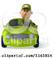 Clipart Of A 3d Short White Male Auto Mechanic With A Convertible Car On A White Background Royalty Free Illustration