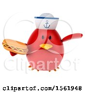 Clipart Of A 3d Chubby Red Bird Sailor Holding A Hot Dog On A White Background Royalty Free Illustration
