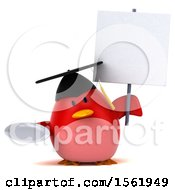 Clipart Of A 3d Chubby Red Bird Graduate Holding A Plate On A White Background Royalty Free Illustration