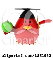 Clipart Of A 3d Chubby Red Bird Graduate Holding An Apple On A White Background Royalty Free Illustration