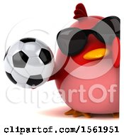 3d Chubby Red Bird Holding A Soccer Ball On A White Background