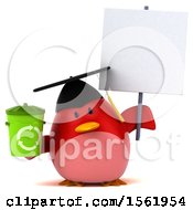 Clipart Of A 3d Chubby Red Bird Graduate Holding A Recycle Bin On A White Background Royalty Free Illustration