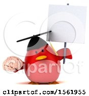 Clipart Of A 3d Chubby Red Bird Graduate Holding A Brain On A White Background Royalty Free Illustration