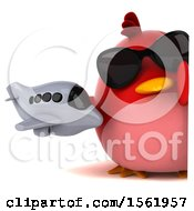 Clipart Of A 3d Chubby Red Bird Holding A Plane On A White Background Royalty Free Illustration