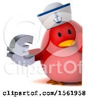 Clipart Of A 3d Chubby Red Bird Sailor Holding A Euro On A White Background Royalty Free Illustration