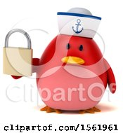 Clipart Of A 3d Chubby Red Bird Sailor Holding A Padlock On A White Background Royalty Free Illustration